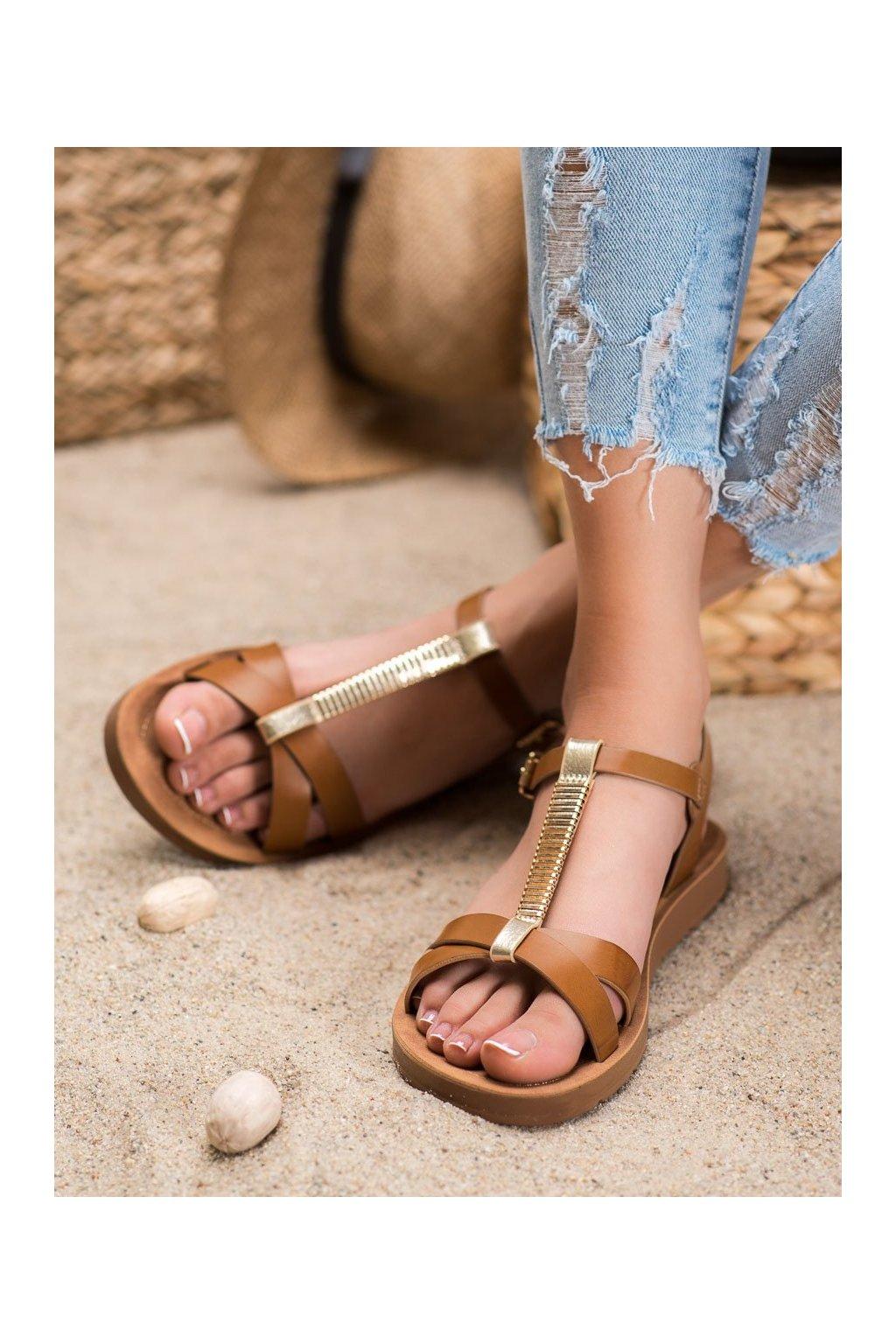 Hnedé sandále s plochou podrážkou Filippo kod DS802/20BR