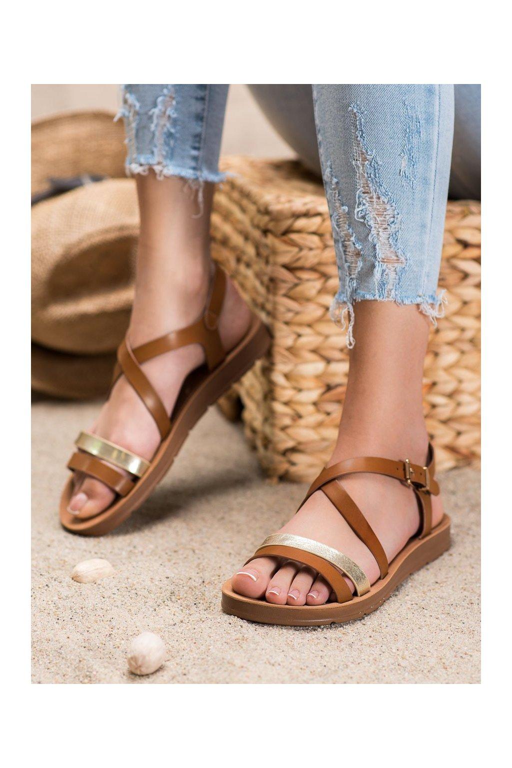Hnedé sandále s plochou podrážkou Filippo kod DS803/20BR/GO
