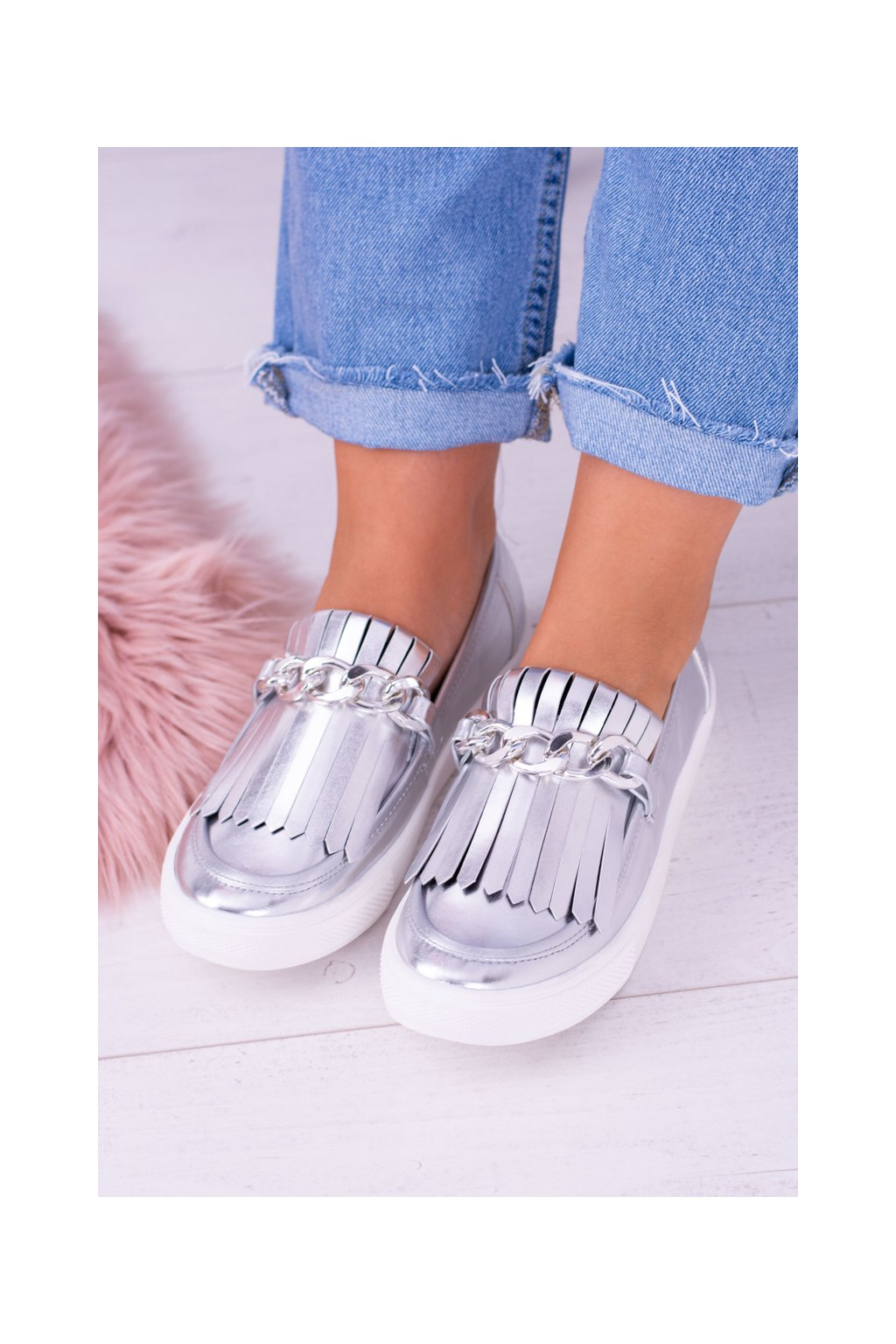 Dámske tenisky Slip-on Lu Boo XW50012 Silver