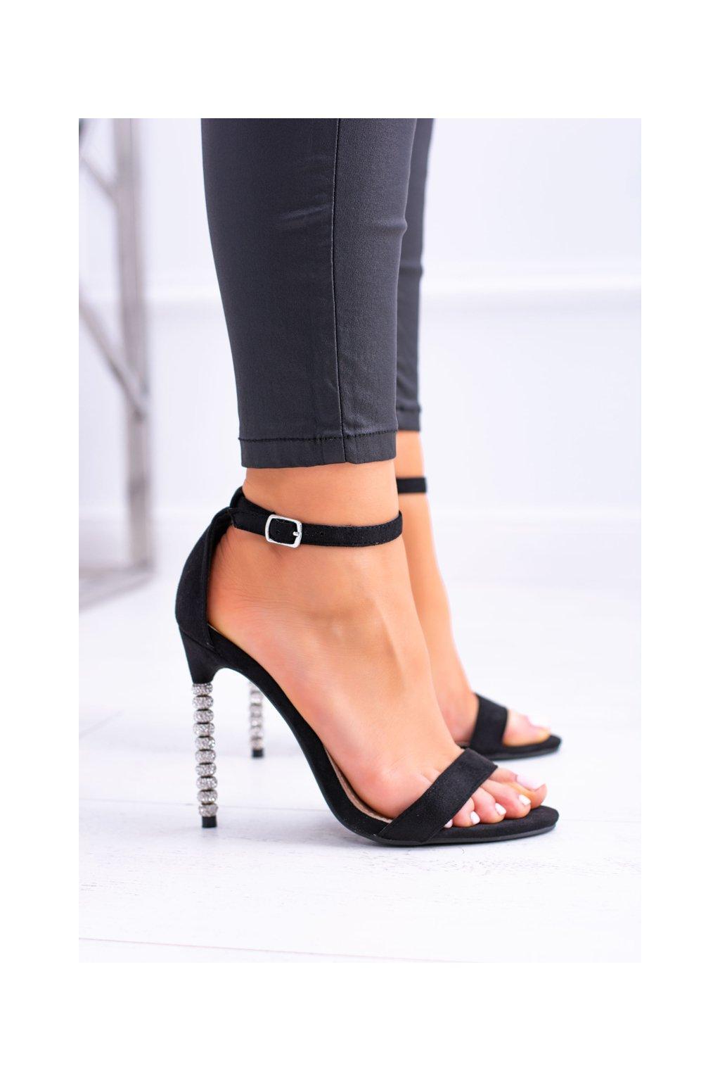 Dámske sandále so zdobenou pätou so zirkónmi čerň Elida NJSK 7078