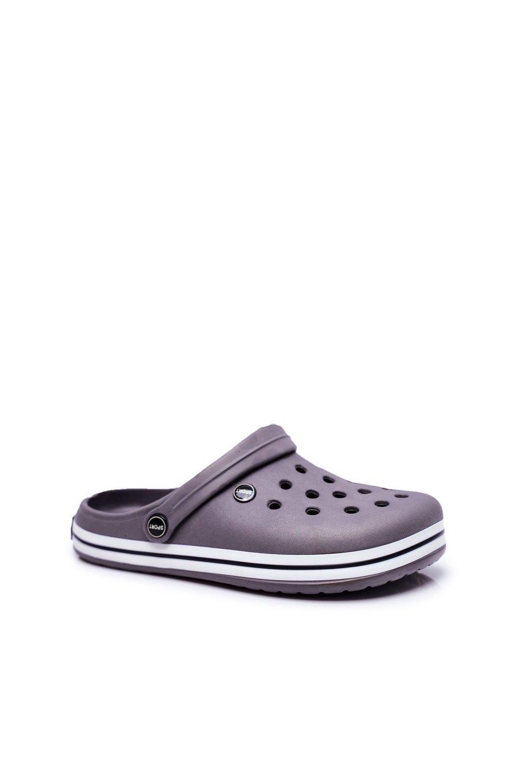 Pánske šľapky farba sivá kód obuvi B919-2 GREY BLK