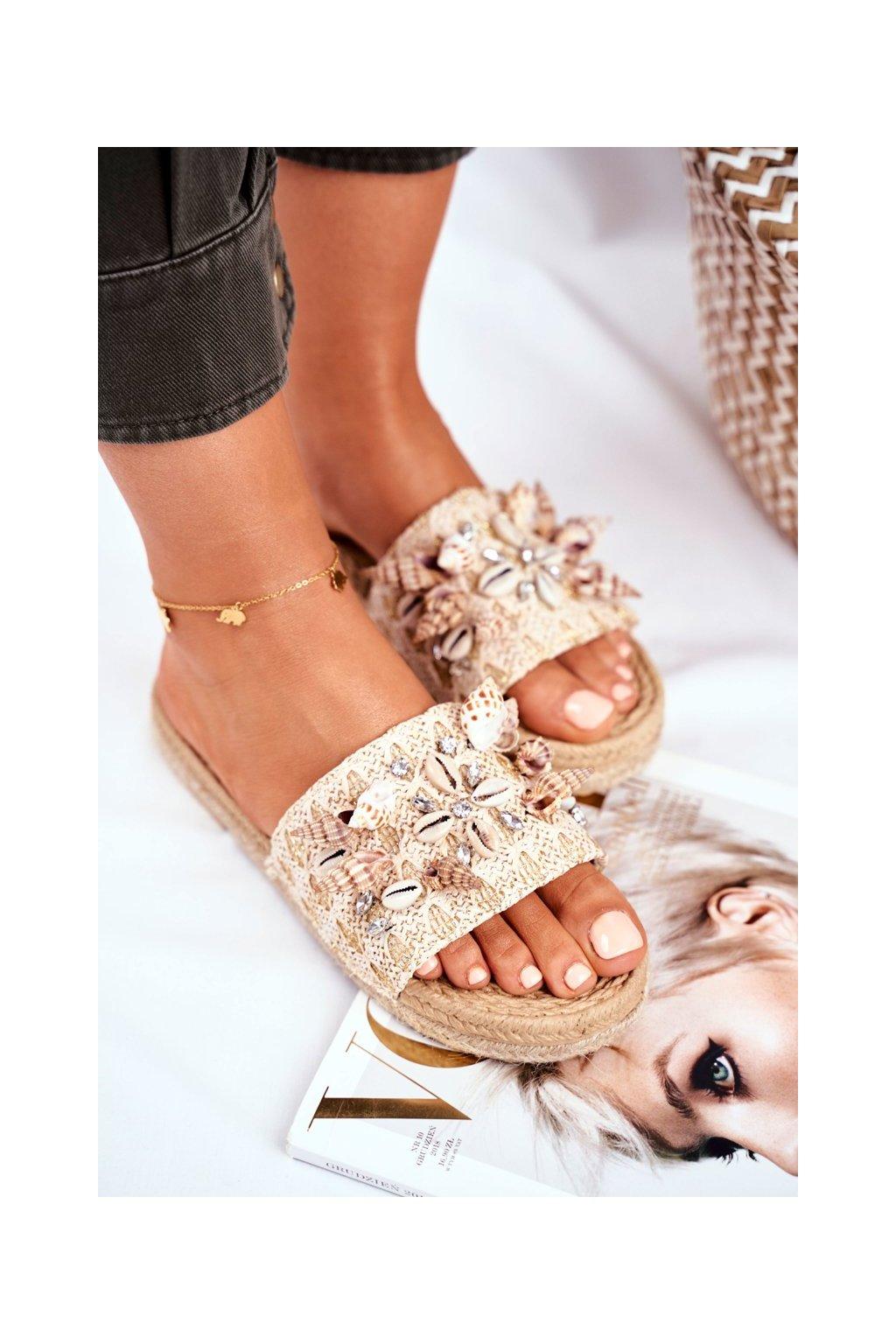 Dámske šľapky farba hnedá kód obuvi YQ229 BEIGE
