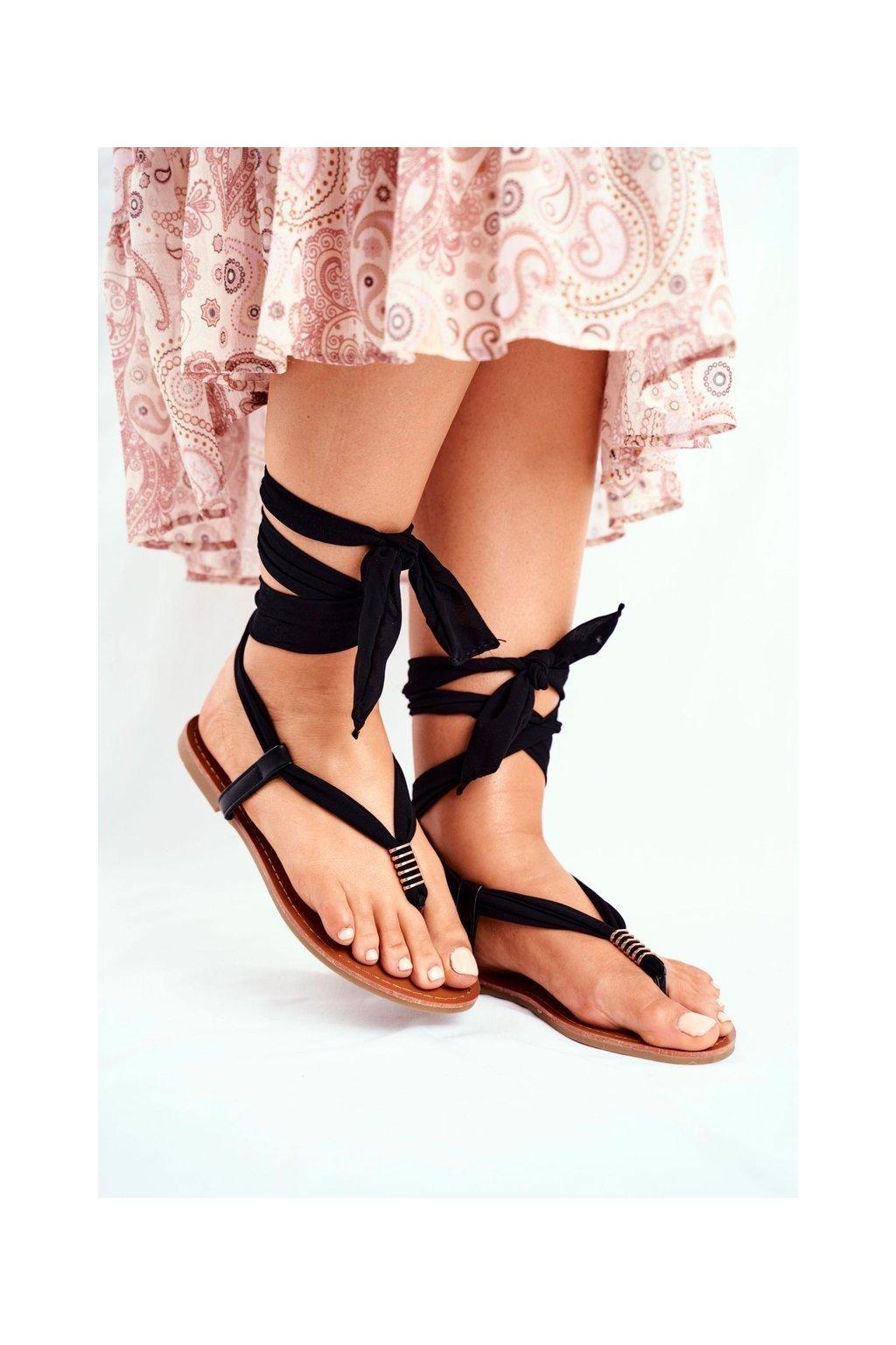 Dámske ploché sandále farba čierna kód obuvi P-1081 BLK