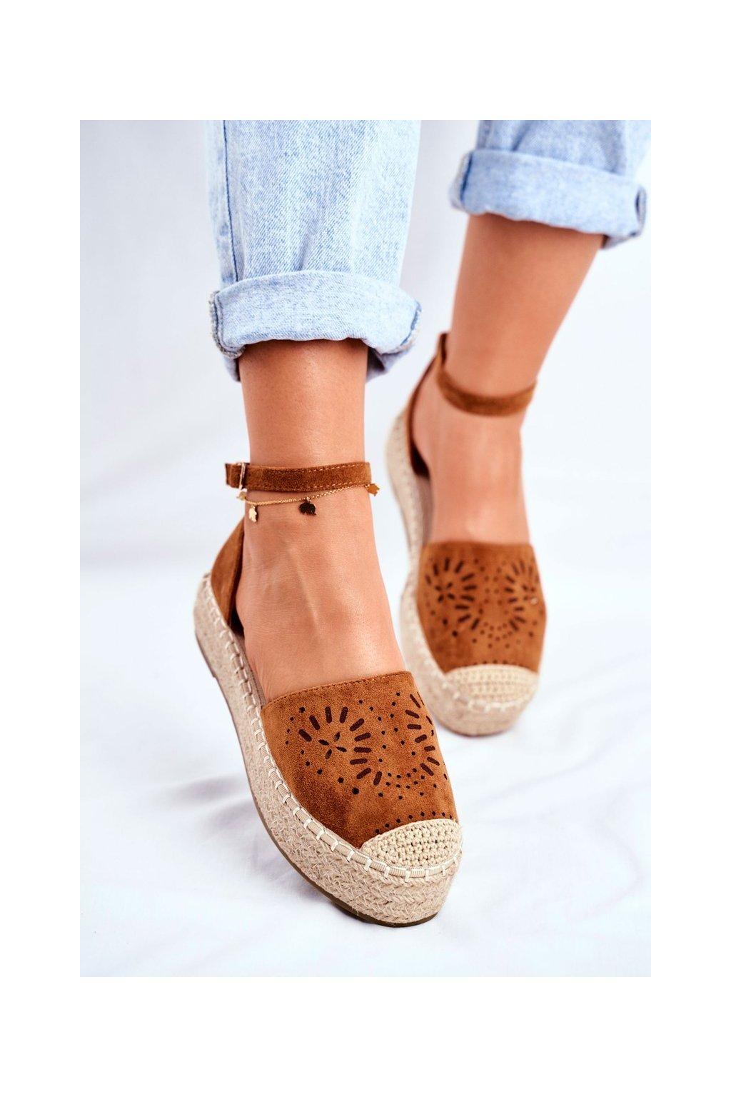 Dámske tenisky farba hnedá kód obuvi PK02 CAMEL