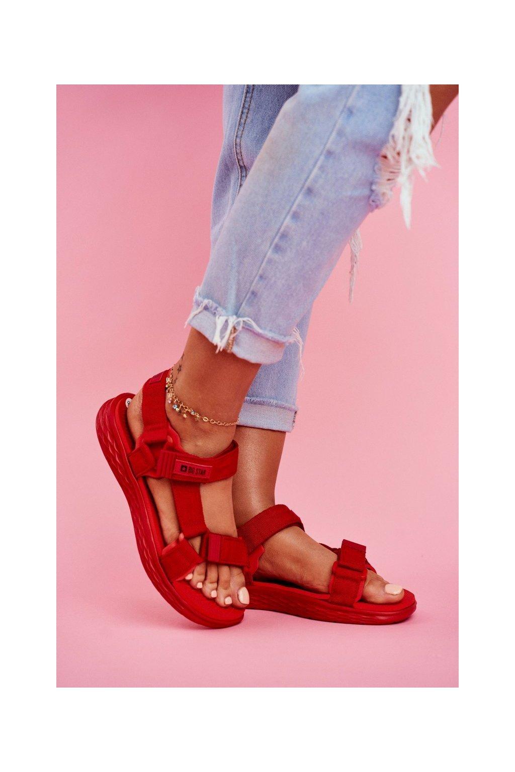 Dámske sandále farba červená kód obuvi FF274A602 RED