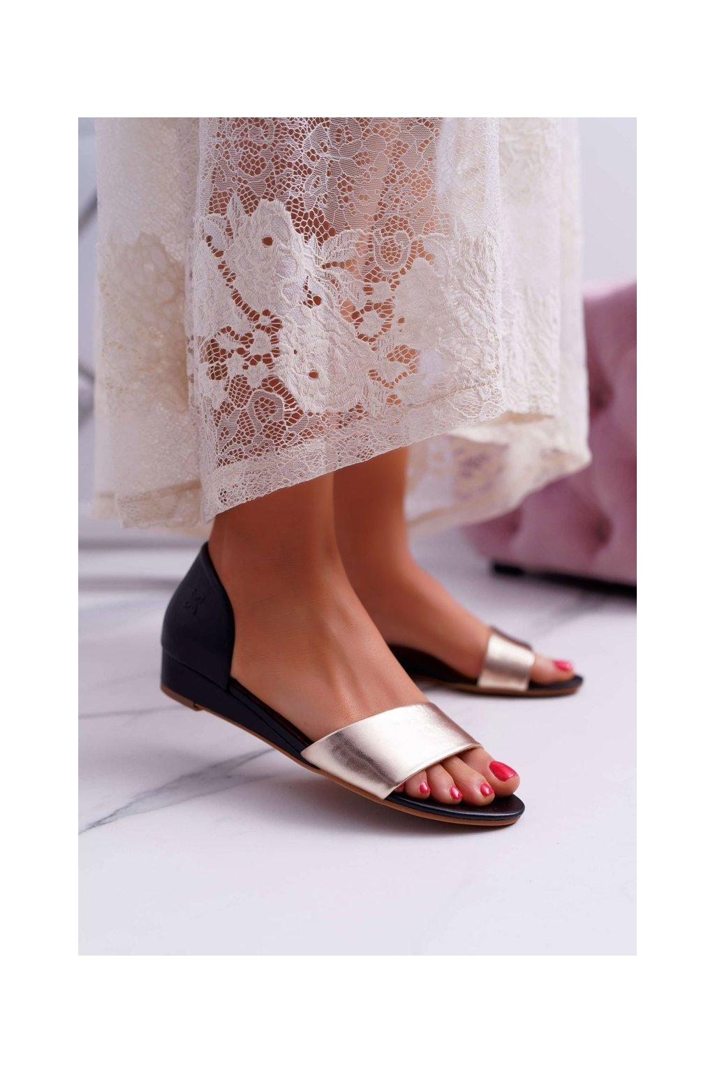 Dámske Sandále Majka Kožené čierne Zlaté 1971 Nomara