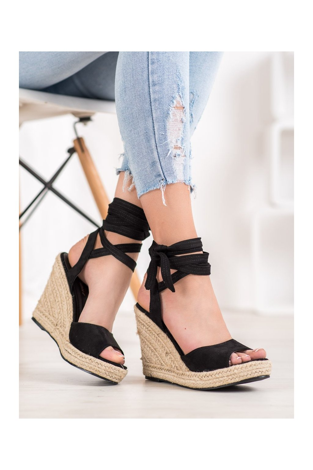 Čierne sandále Yes mile kod YES-3123B