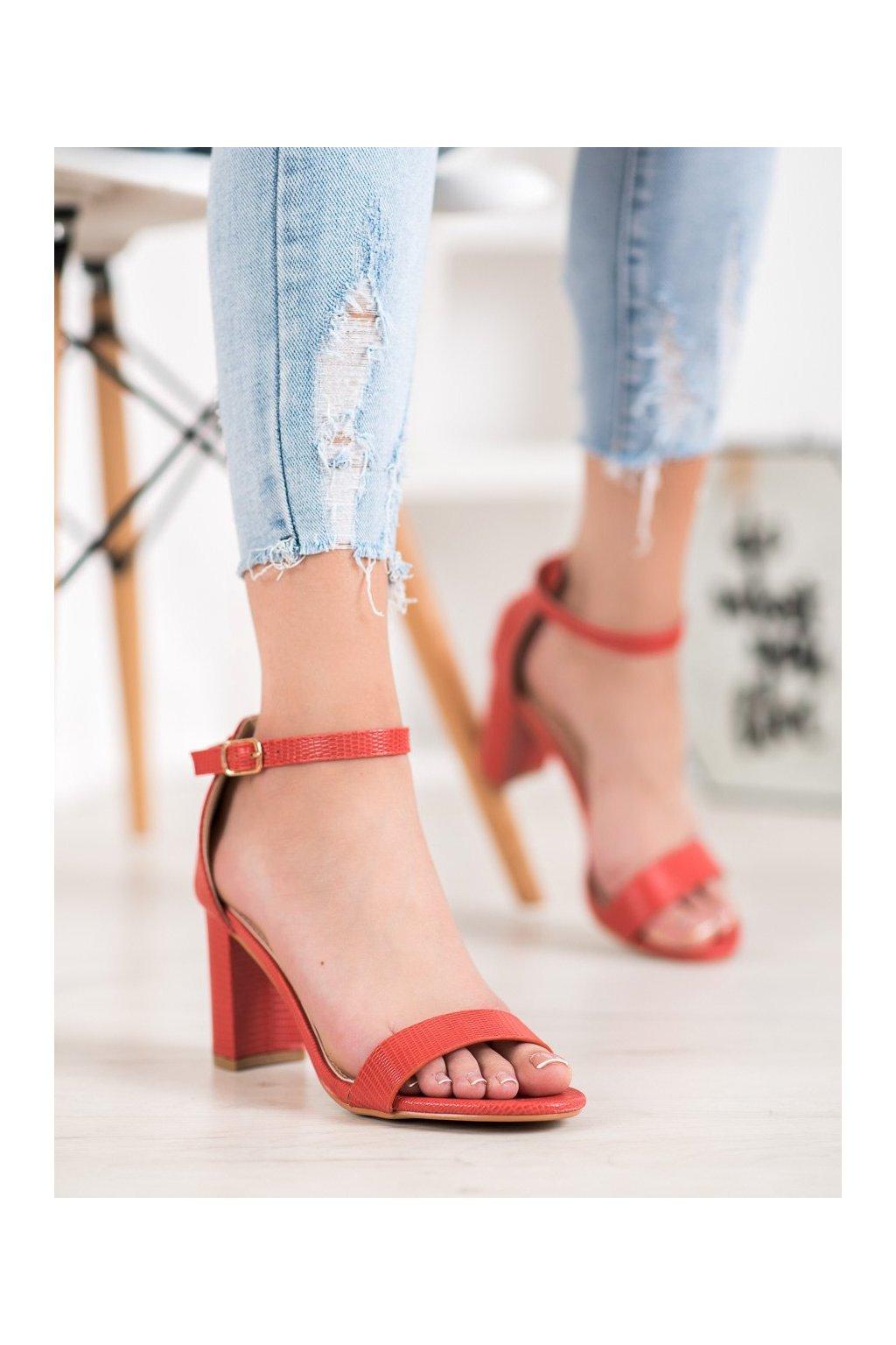 Červené sandále na podpätku Small swan kod YC-150R