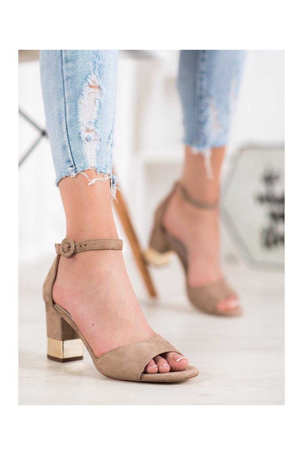 Hnedé sandále na podpätku Filippo kod DS1288/20BE