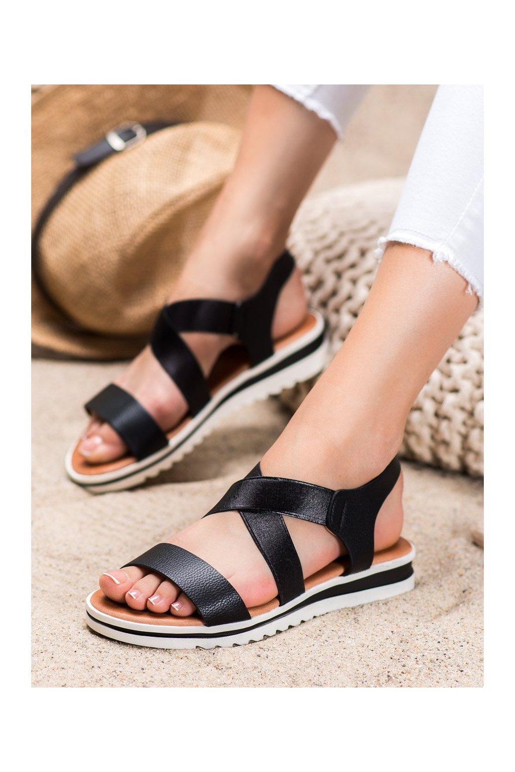 Čierne sandále na platforme Weide kod Y658B