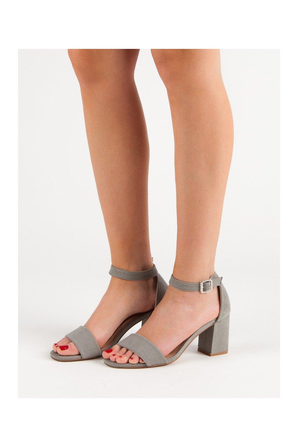 Sivé sandále na podpätku Vinceza kod YQE19-1752G
