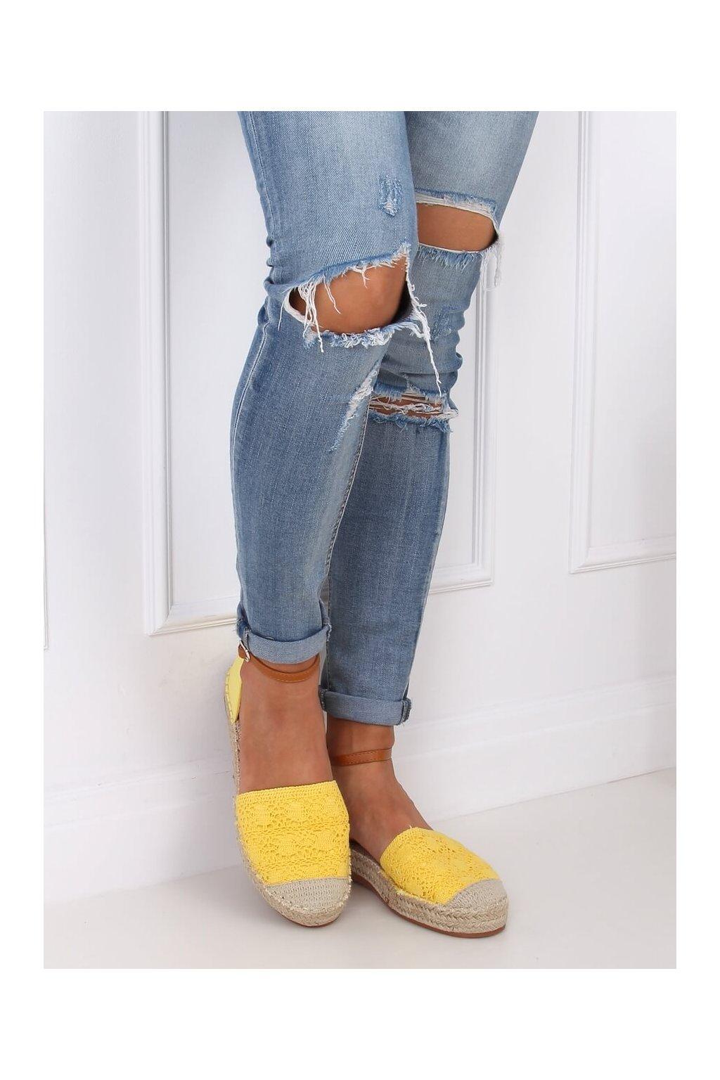 Dámske sandále s plochou podrážkou žlté na plochom podpätku 3035