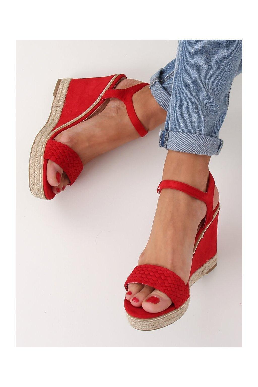 Dámske sandále červené na platforme 100-937SC-1