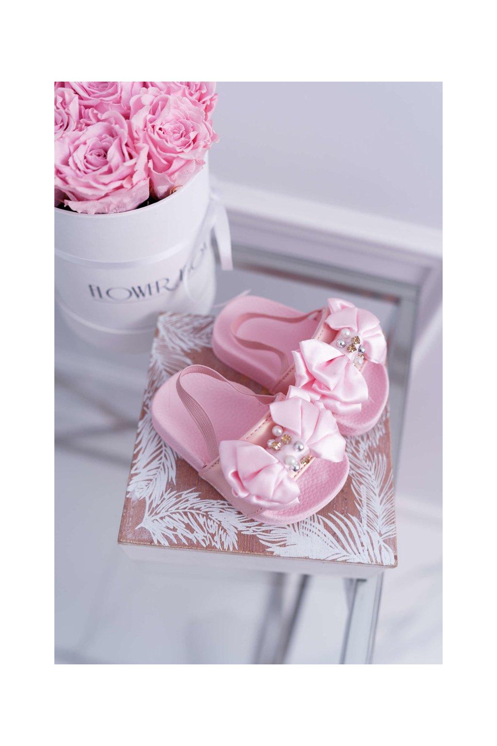 Detské Dievčenské šľapky s perlama ružové Senari NJSK 295-1b