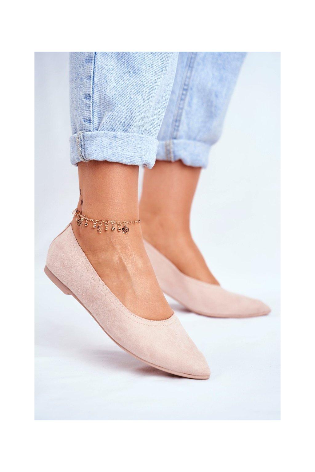Dámske balerínky farba ružová kód obuvi NK19P PINK