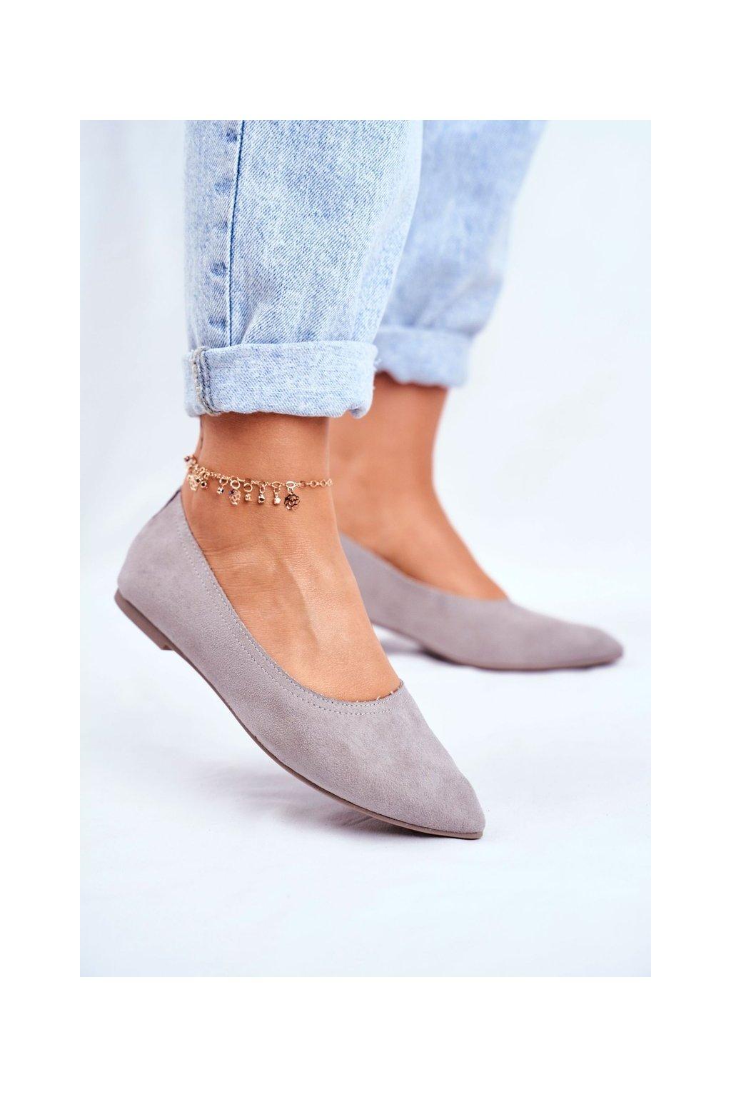 Dámske balerínky farba sivá kód obuvi NK19P GREY