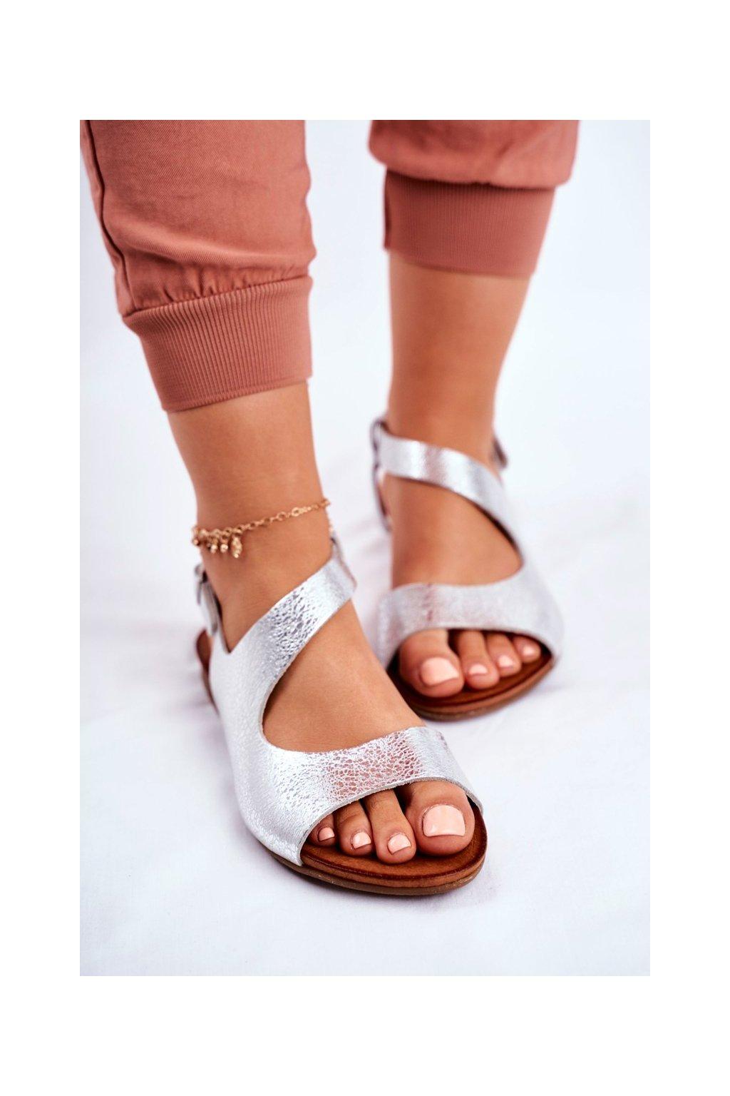 Dámske sandále farba sivá kód obuvi 1116 SILVER 259