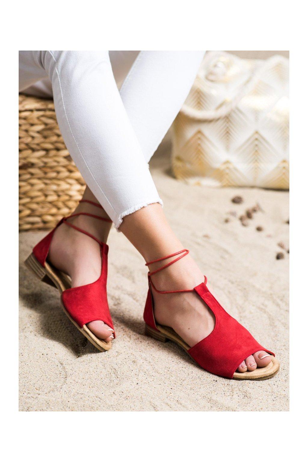 Červené sandále s plochou podrážkou Vinceza kod YQE20-17087R