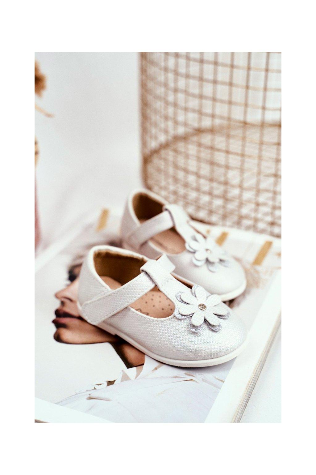 Detské balerínky farba sivá kód obuvi RC10 WHITE