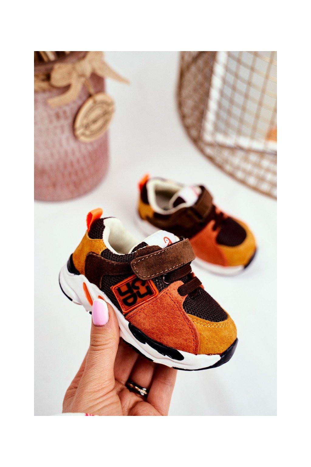 Detské tenisky farba hnedá kód obuvi KC28 BROWN