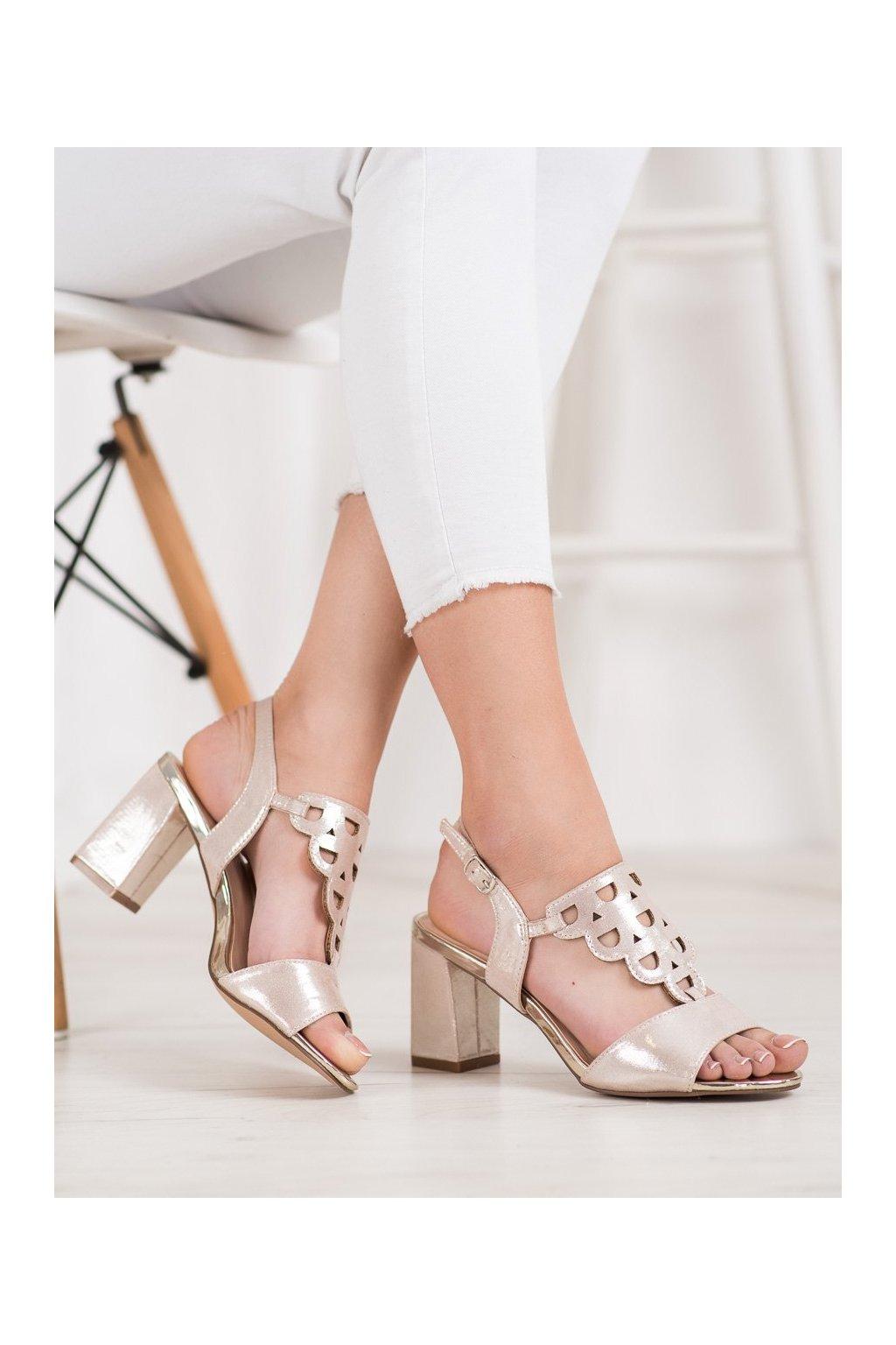 Zlaté sandále na podpätku Vinceza kod YQE20-17080GO