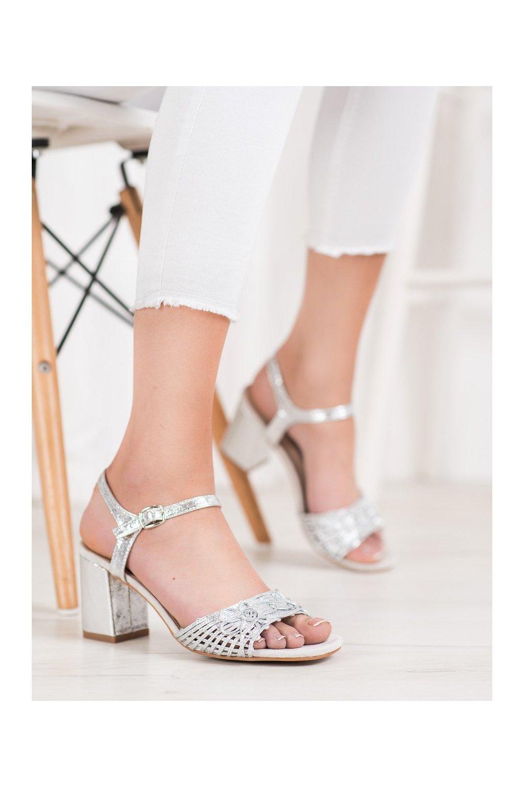 Sivé sandále na podpätku Vinceza kod YQE20-17060S