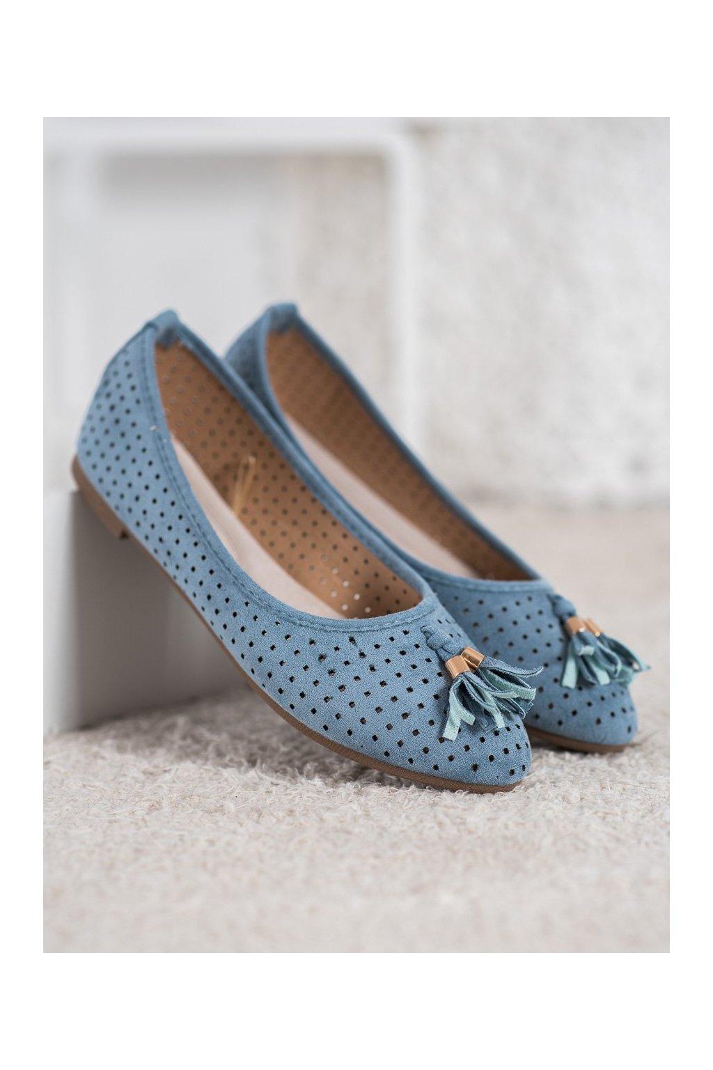 Modré dámske balerínky Vinceza kod BOB20-18018BL