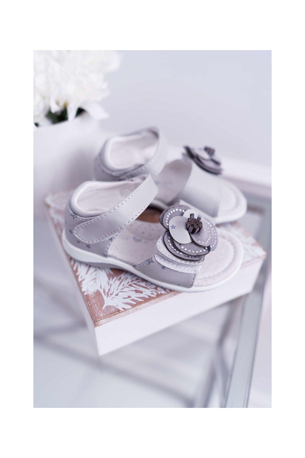 Detské Sandále pre dievčatá na suchý zips sivé Flamenko NJSK 9DZ60-0947