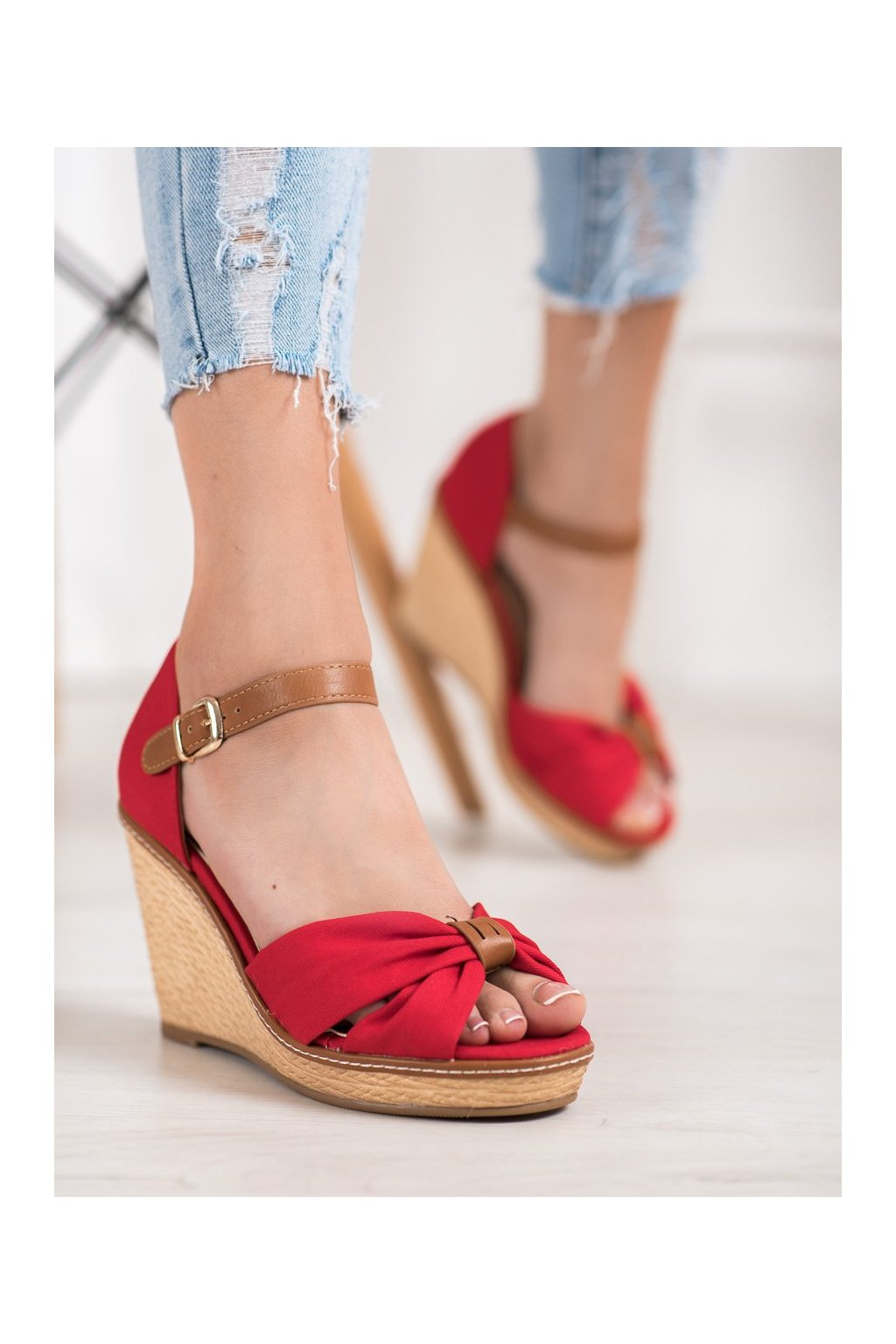 Červené sandále Shelovet kod 100R