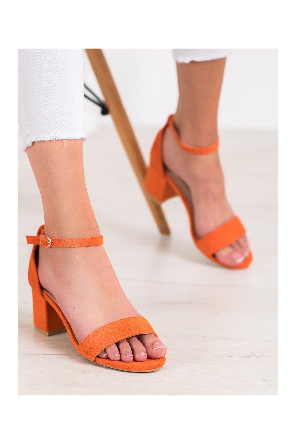 Oranžové sandále na podpätku Nio nio kod 99-36OR