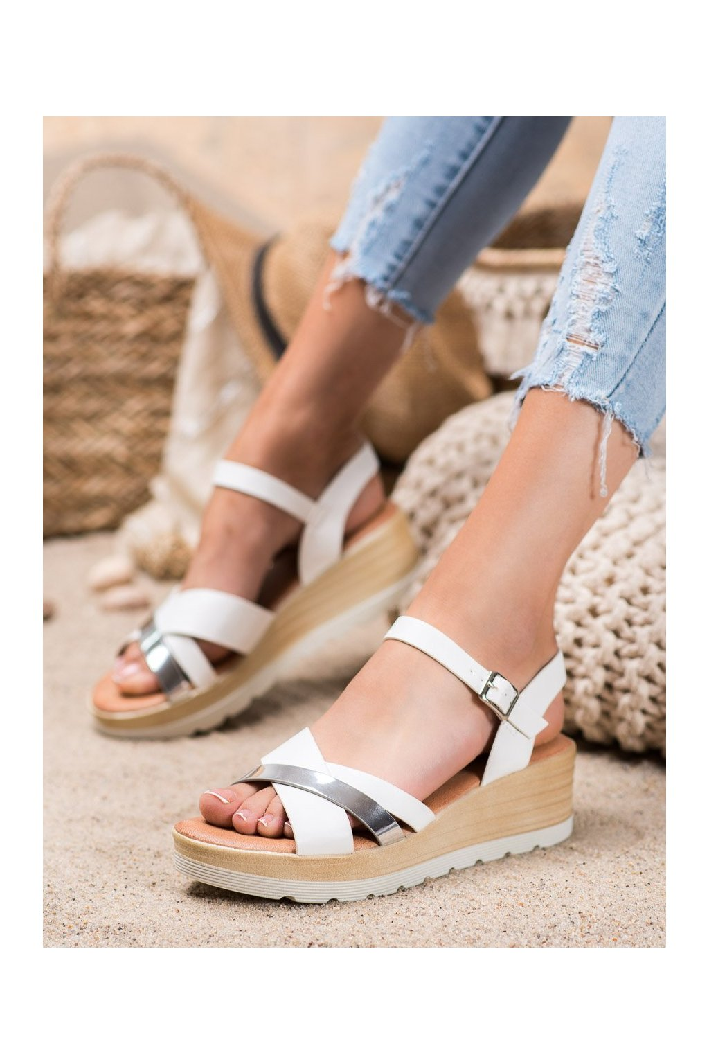 Biele sandále Renda kod BQ-35W