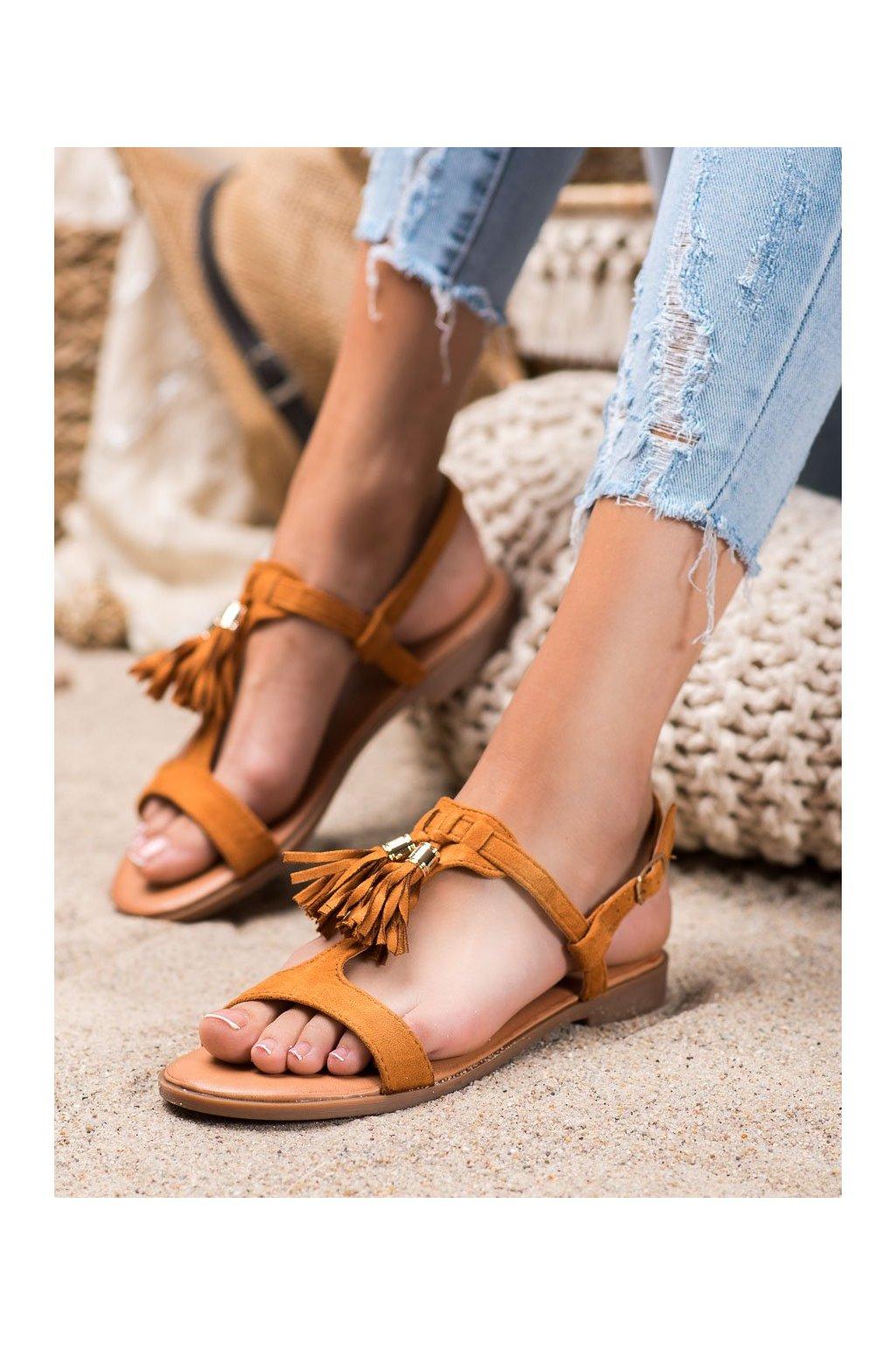 Hnedé sandále s plochou podrážkou Renda kod 222-30C