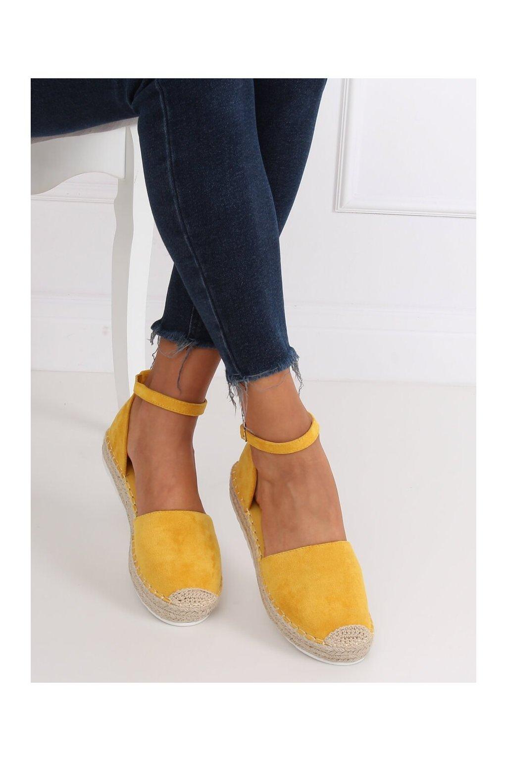 Dámske sandále žlté na plochom podpätku NJSK JH95P