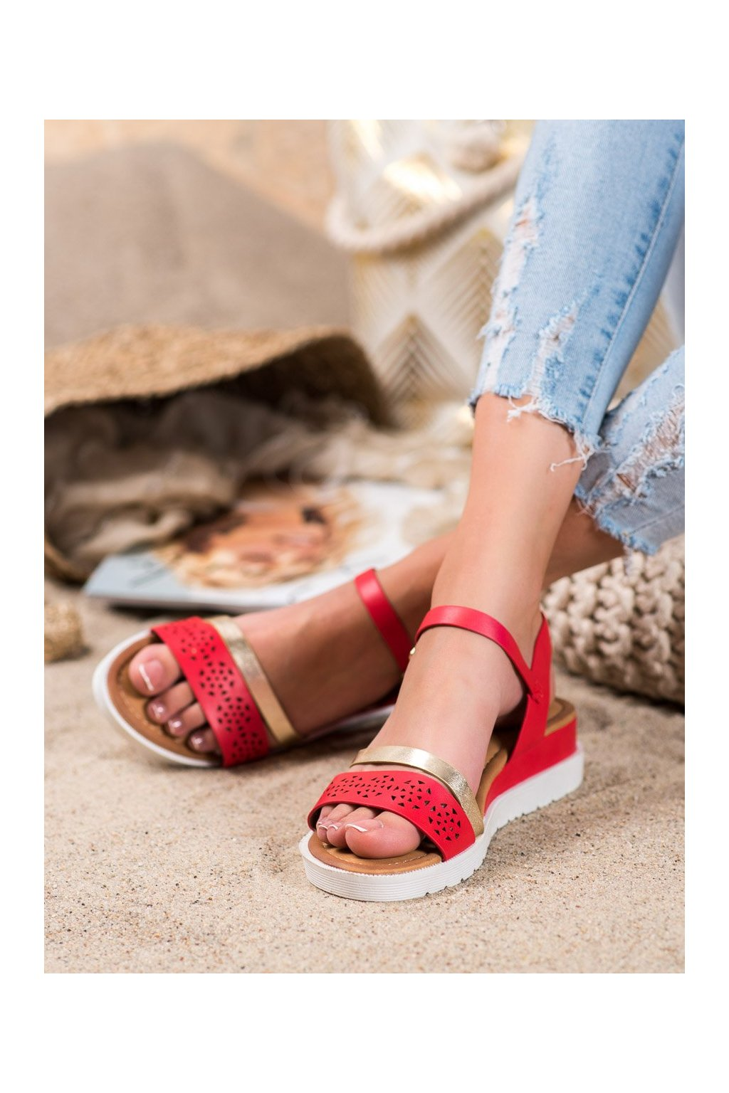 Červené sandále Renda kod RD048R