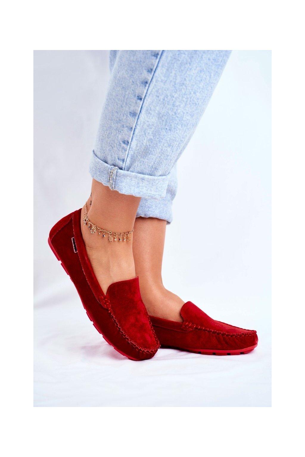 Dámske mokasíny farba červená kód obuvi OCA20-2166 RED