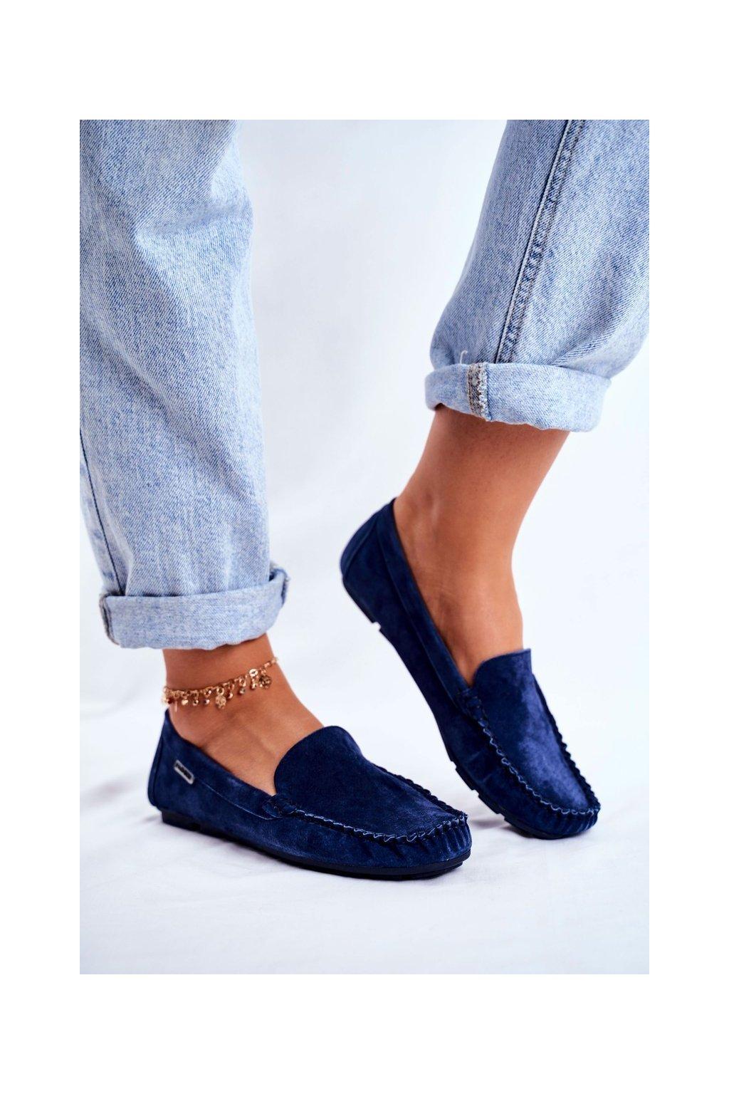 Dámske mokasíny farba modrá kód obuvi OCA20-2166 BLUE