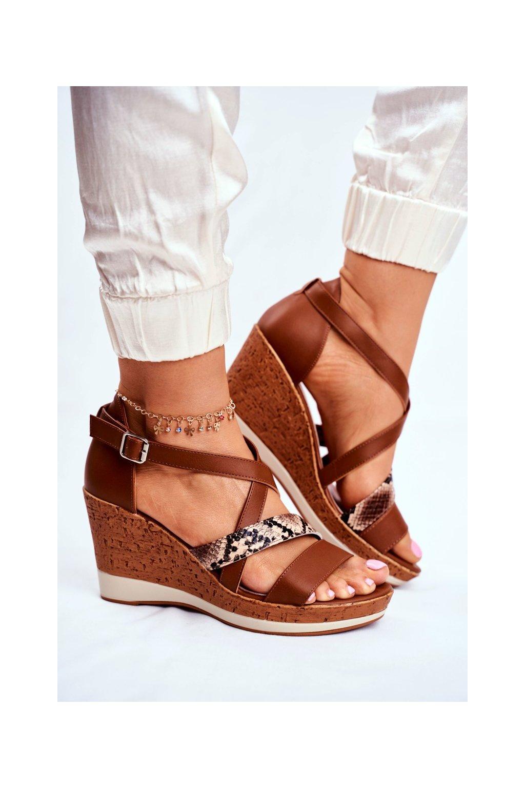Dámske sandále farba hnedá kód obuvi SK309 BROWN MIX