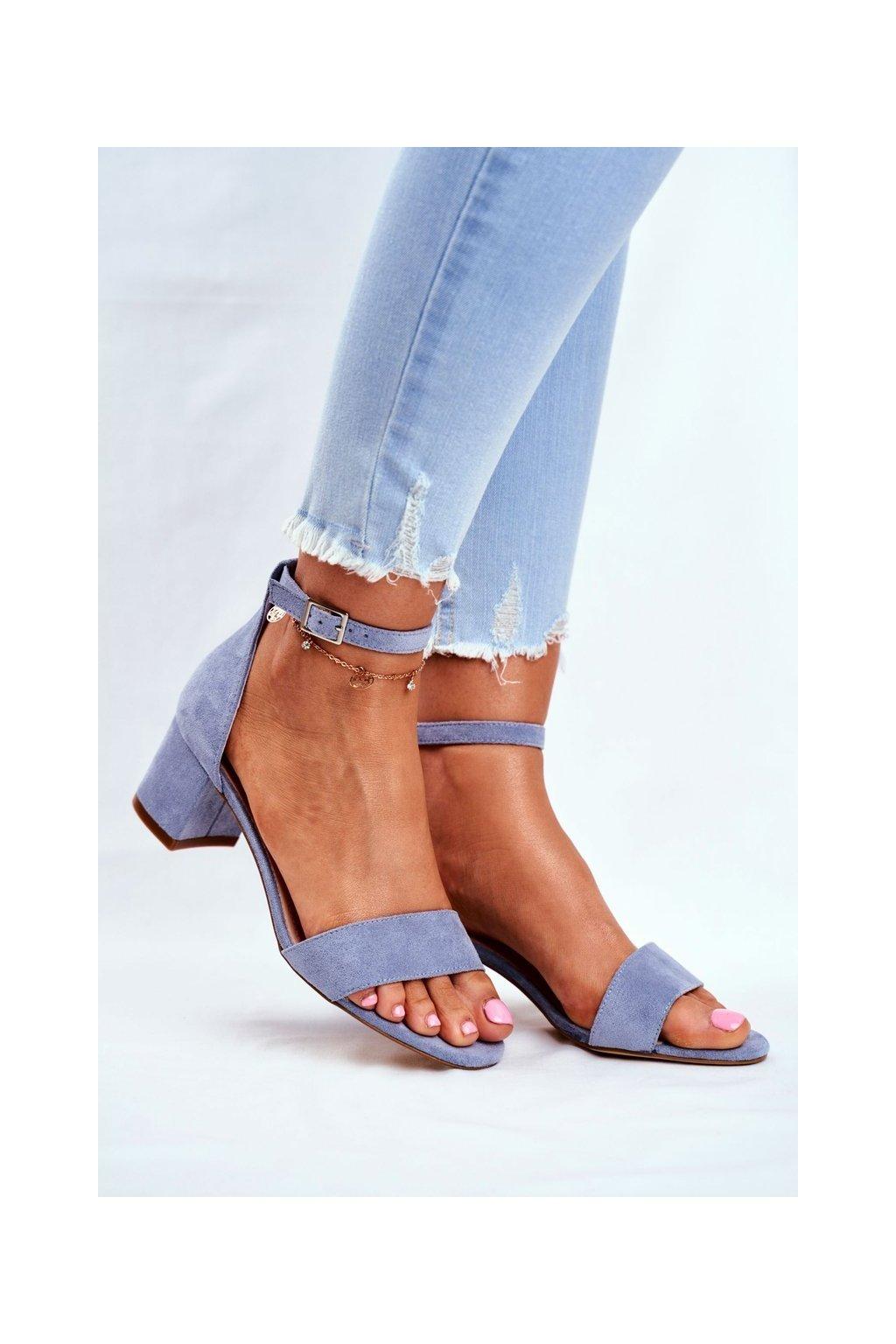 Dámske sandále na podpätku farba modrá kód obuvi SK839 L.BLUE MIC