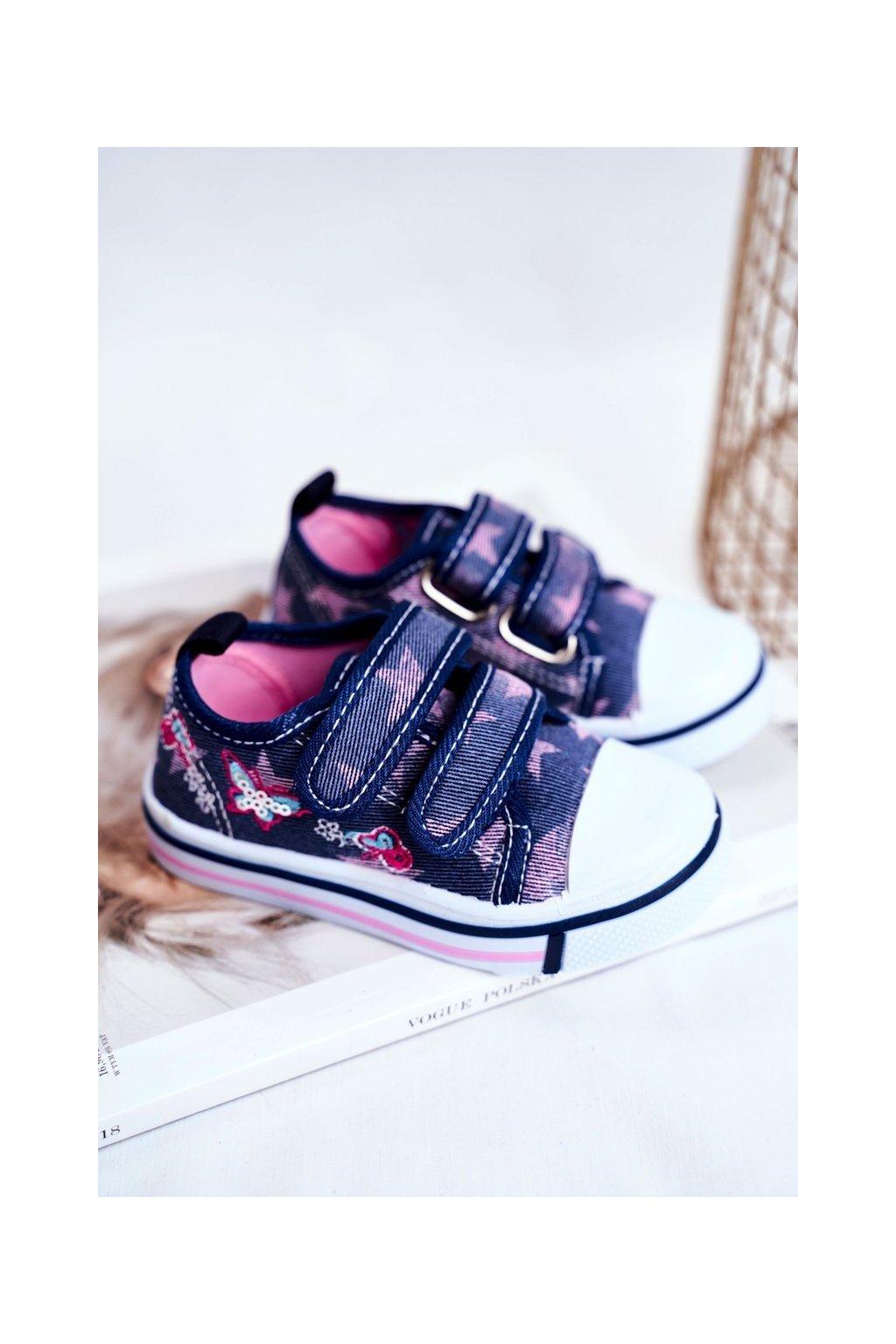 Detské tenisky farba modrá kód obuvi A1454 A2098 DK.BLUE