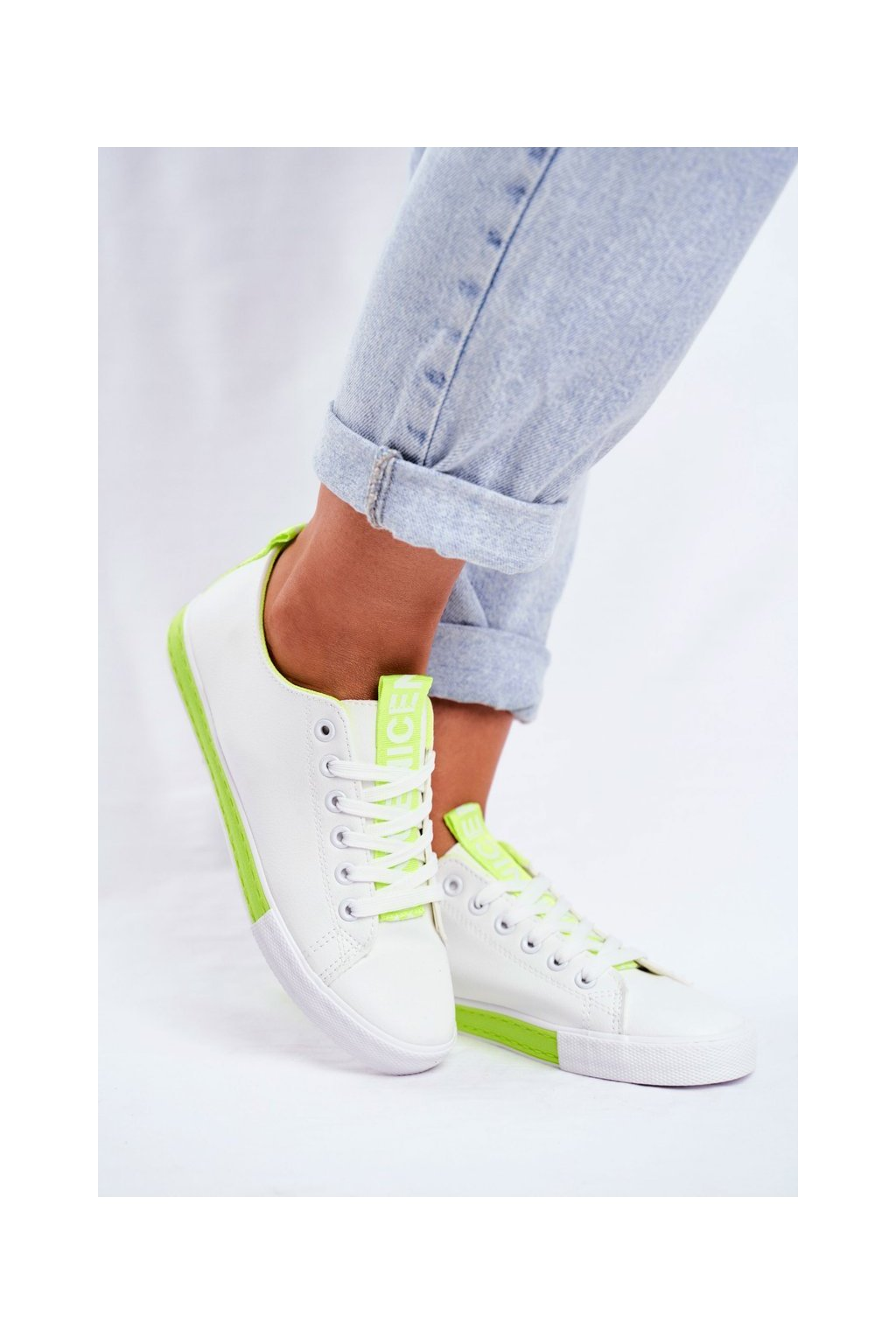 Dámske tenisky farba zelená kód obuvi LA70 GREEN