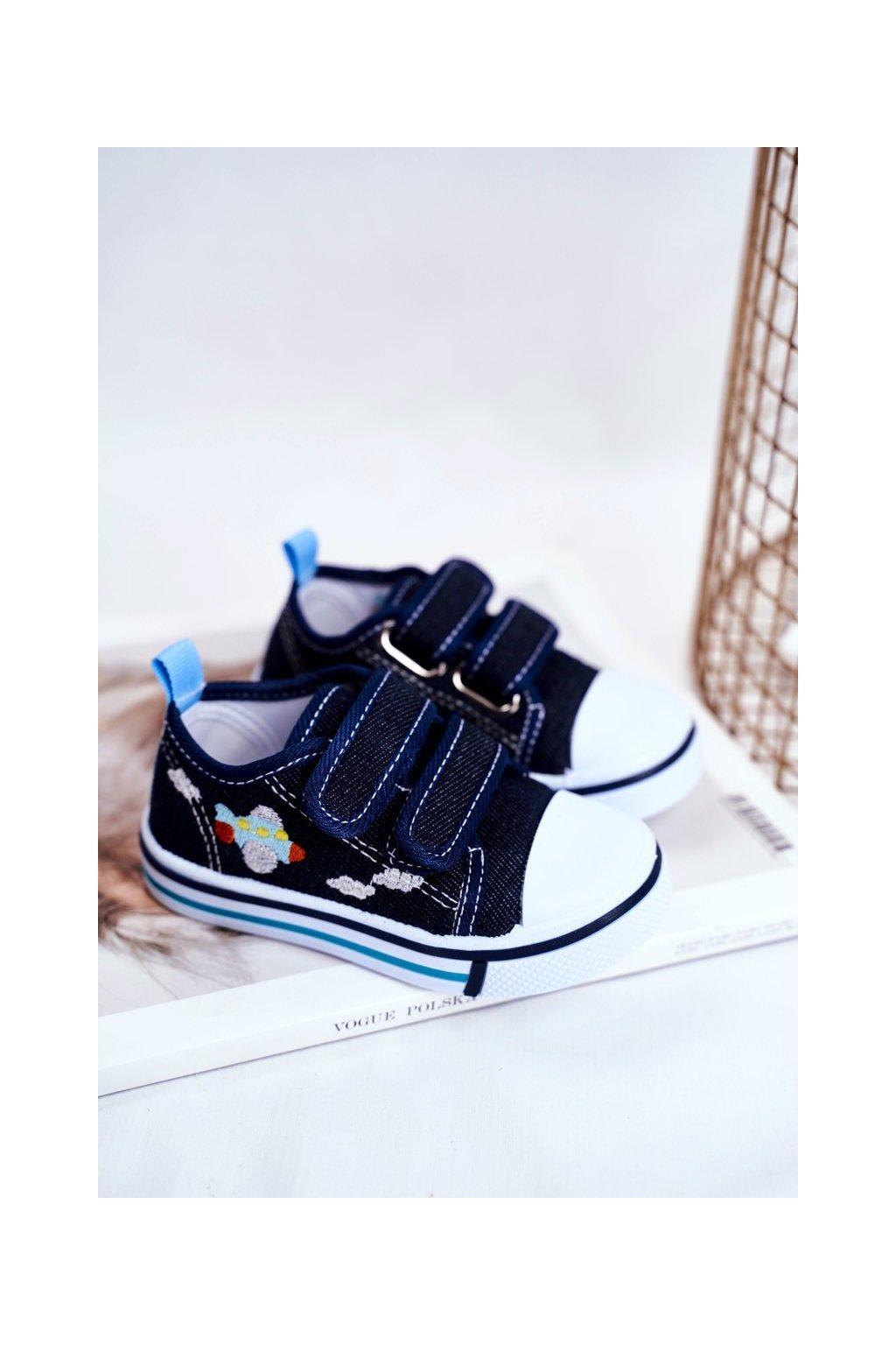 Detské tenisky farba modrá kód obuvi A1458 A2102 NAVY