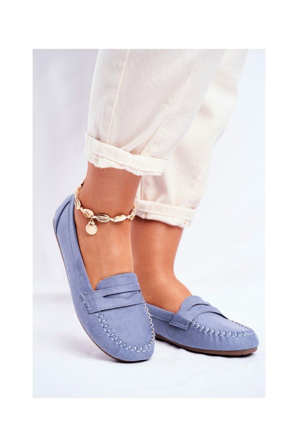 Dámske mokasíny farba modrá kód obuvi CD-66 LT.BLUE