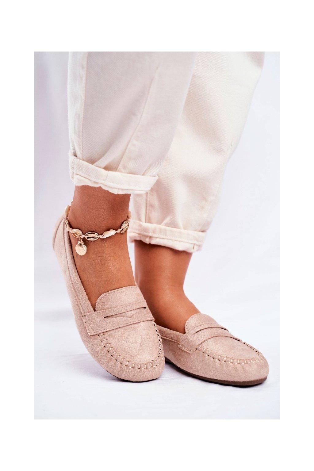 Dámske mokasíny farba hnedá kód obuvi CD-66 BEIGE