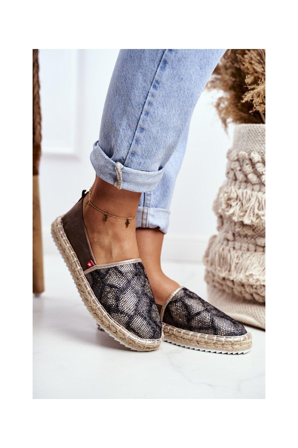 Dámske espadrilky farba hnedá kód obuvi FF274A515 BROWN