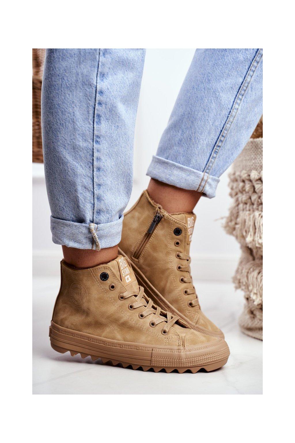 Dámske tenisky farba hnedá kód obuvi GG274072 CAMEL