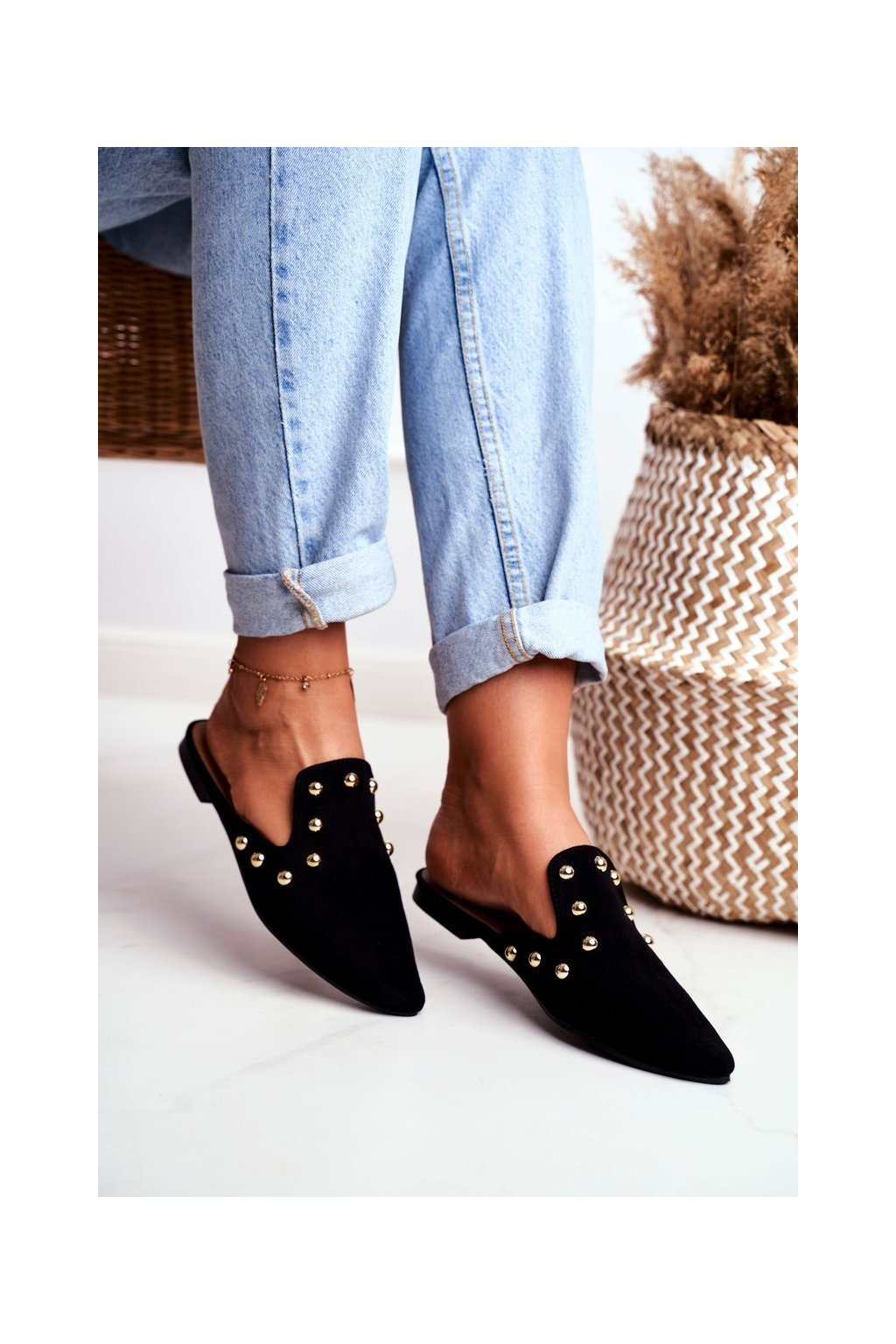 Dámske šľapky farba čierna kód obuvi 978-A3 BLACK SUEDE