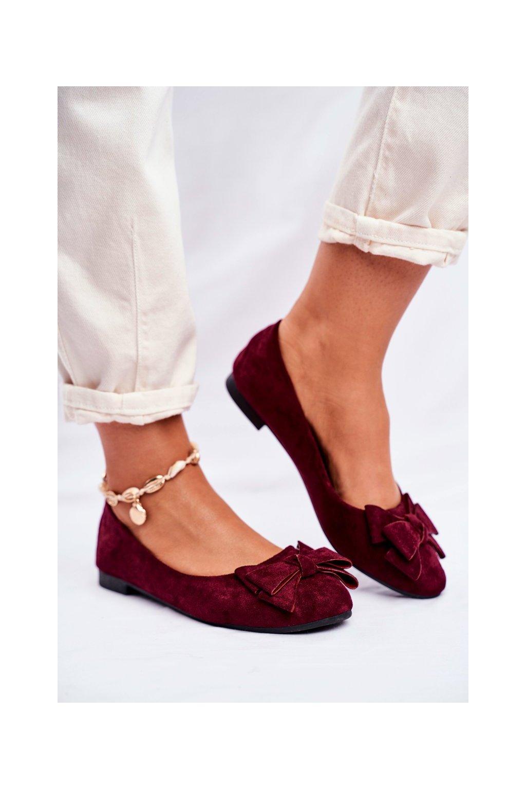 Dámske balerínky farba červená kód obuvi T291 WINE