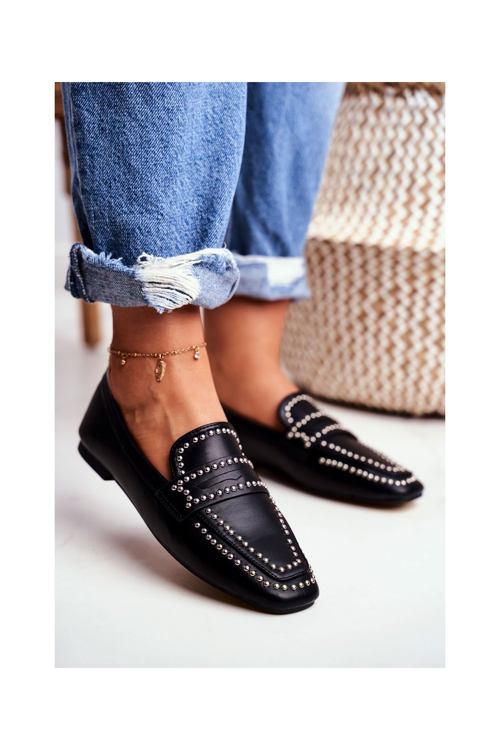 Dámske mokasíny farba čierna kód obuvi 588B-TA1 BLK PU