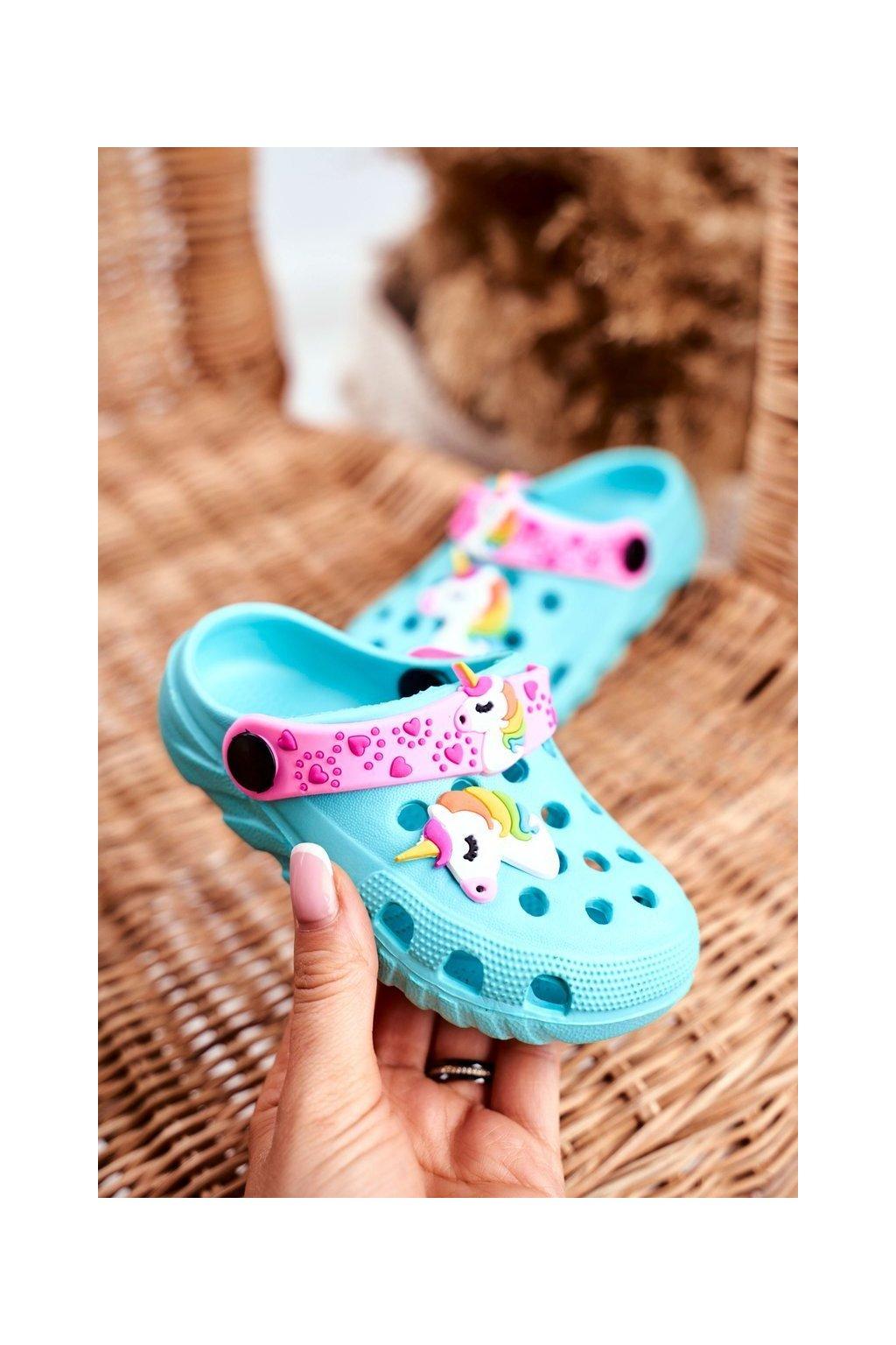 Detské šľapky farba modrá kód obuvi 209 BLUE