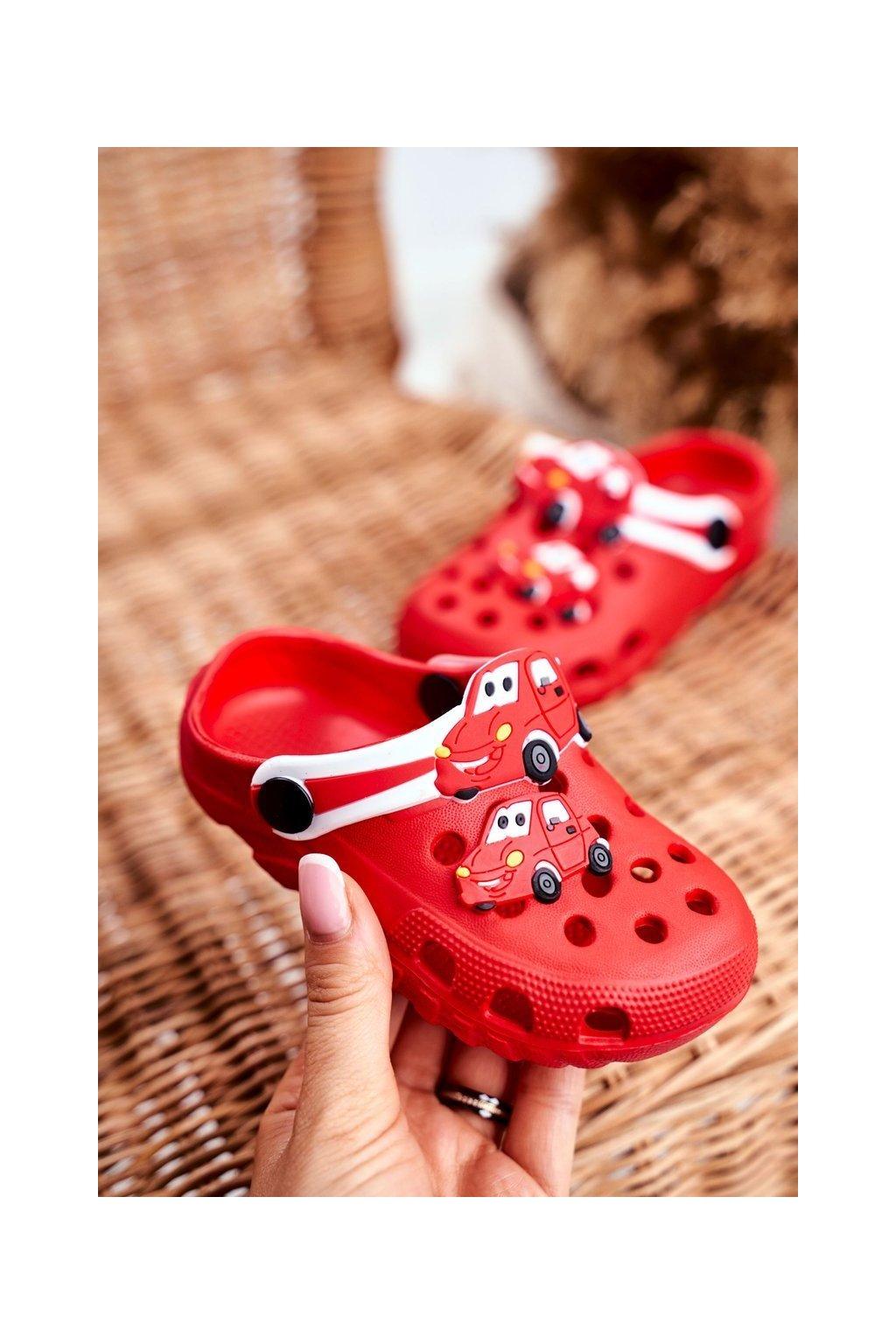 Detské šľapky farba červená kód obuvi 209 RED